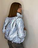 Куртка для девочки светоотражающая из рефлективной ткани подростковая с голографическим принтом Паутинка, фото 3