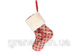 Новогодний носок 43см, цвет - красный с золотом