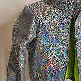Куртка для девочки светоотражающая из рефлективной ткани подростковая с голографическим принтом Паутинка, фото 6
