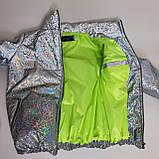 Куртка для девочки светоотражающая из рефлективной ткани подростковая с голографическим принтом Паутинка, фото 7