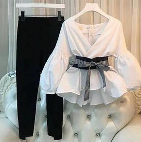 Жіночий костюм блузка бохо з пишними рукавами і поясом + штани 40-70 розміру Батал
