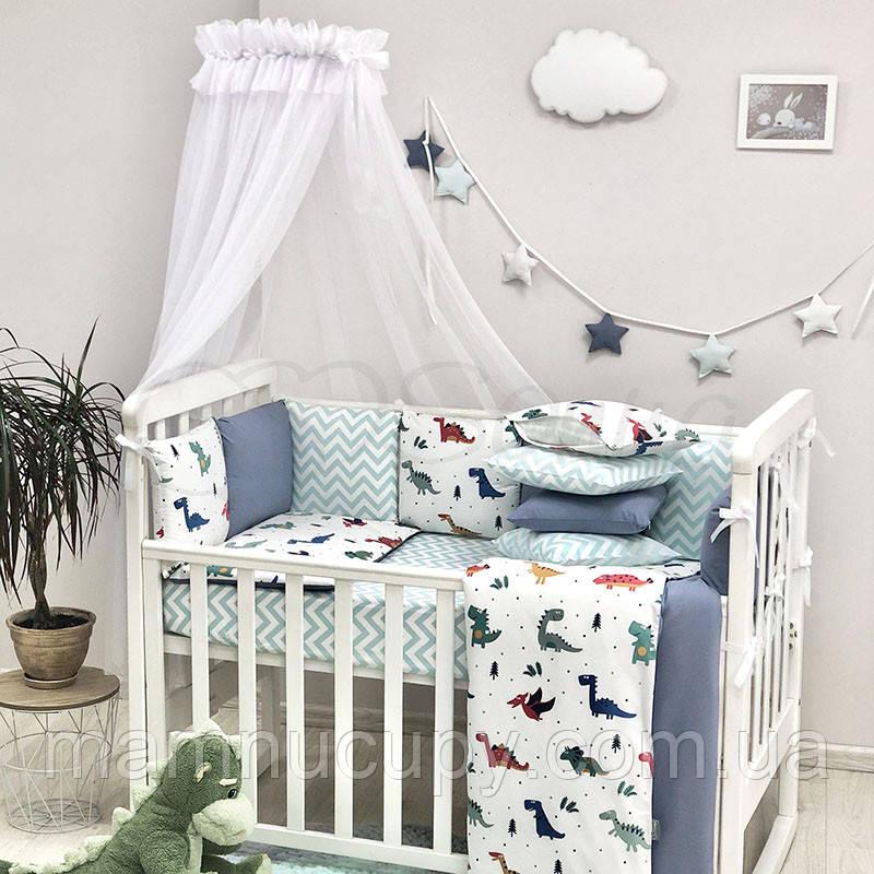 Комплект постельного белья в стандартную кроватку Baby Design Dino синий ТМ «Маленькая Соня»