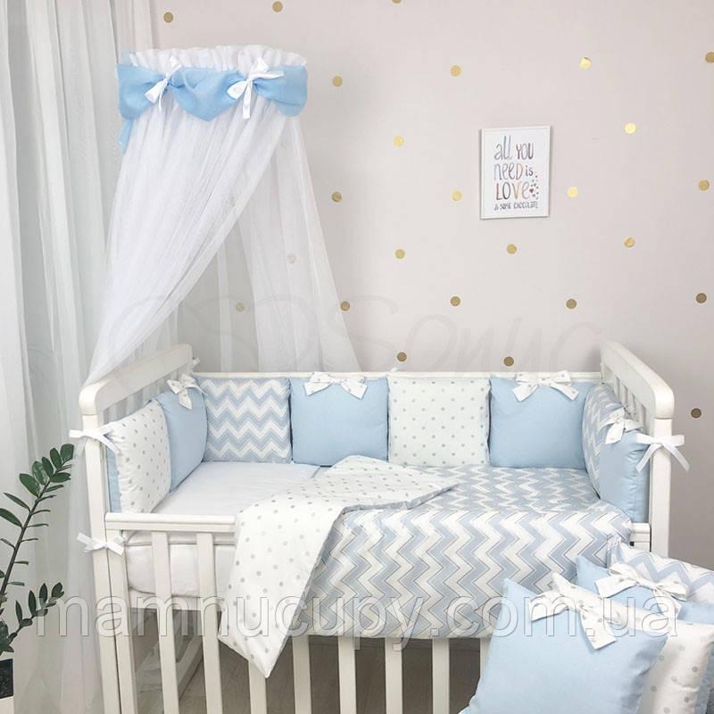 Комплект постельного белья в стандартную кроватку Shine голубой зигзаг ТМ «Маленькая Соня»