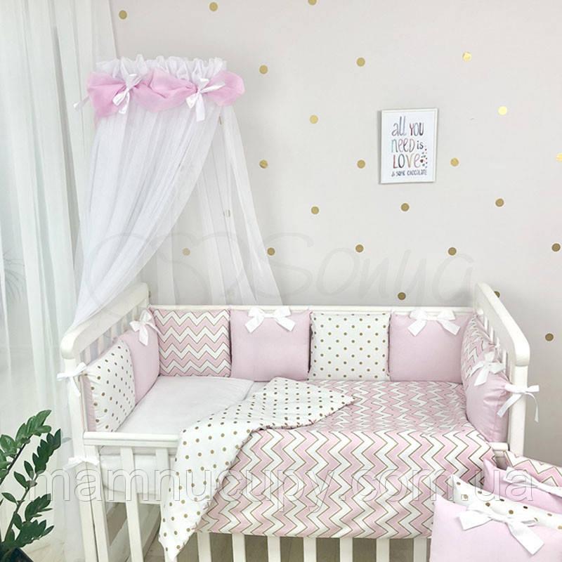 Комплект постельного белья в стандартную кроватку Shine розовый зигзаг ТМ «Маленькая Соня»