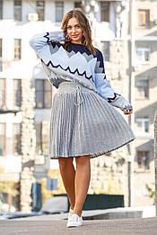 Вязаная юбка плиссе мини 42-50 серый