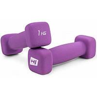 Набор гантелей для фитнеса / Гантели неопреновые квадратные 2x1kg HS-V010DS