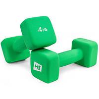 Набор гантелей для фитнеса / Гантели неопреновые квадратные 2x4kg HS-V040DS