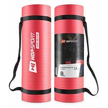 Коврик мат для фитнеса и йоги HS-N015GM 1,5 см red