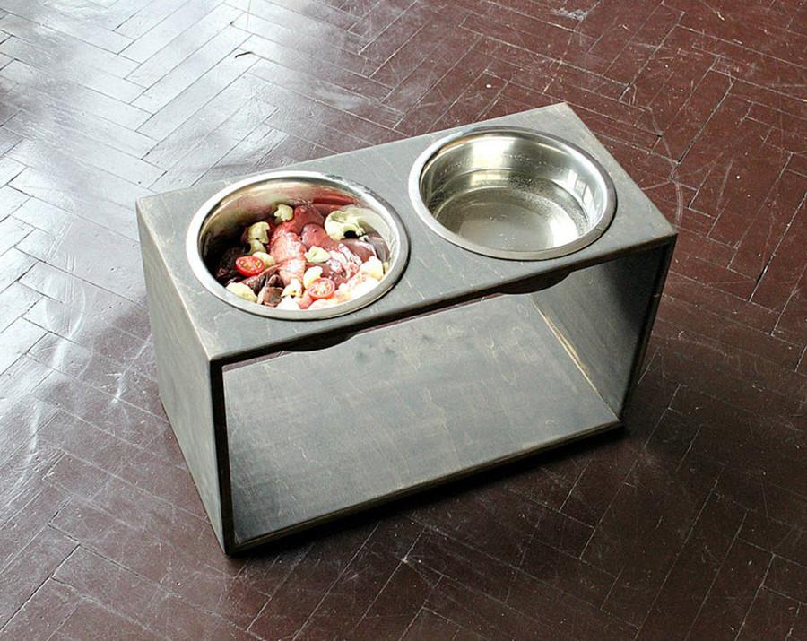 КІТ-ПЕС by smartwood Мискa на подставке   Миска-кормушка металлическая для собак щенков - 2 миски 1700 мл