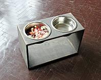 КІТ-ПЕС by smartwood Мискa на подставке   Миска-кормушка металлическая для собак щенков - 2 миски 1700 мл, фото 1