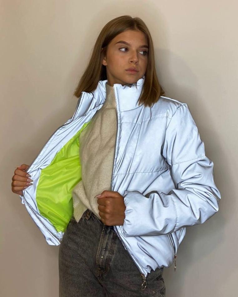 Куртка рефлективна світловідбиваюча підліткова для дівчинки з неоновою підкладкою демісезонна