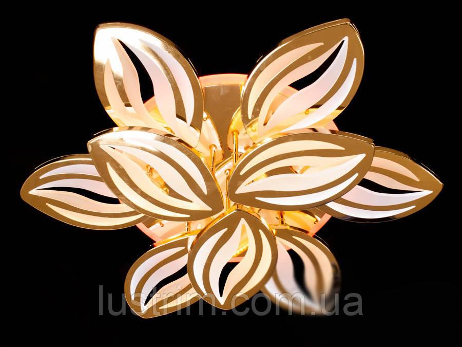 Светодиодная люстра с диммером и LED подсветкой, цвет золото, 165W