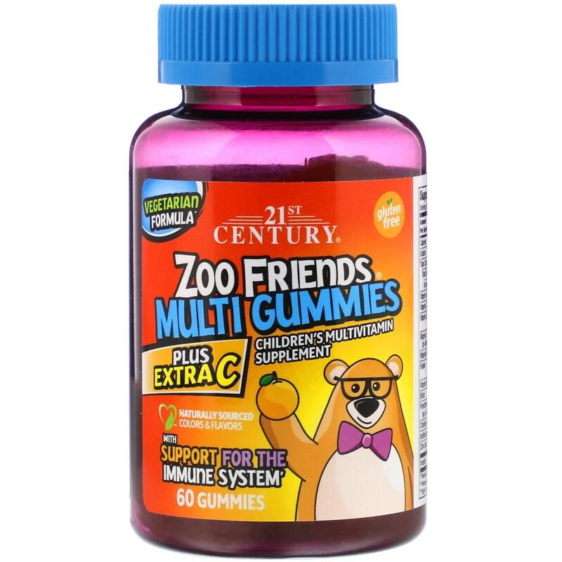 Вітаміни Zoo Friends Multi Gummies Plus Extra C 21st Century 60 жувальних таблеток