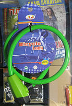 Замок-трос велосипедний з 2-ма ключами 12 на 650 мм (зелений)