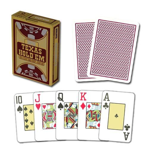 """Пластиковые игральные карты Copag """"Texas Hold'em"""" Gold бордовые"""