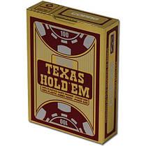 """Пластиковые игральные карты Copag """"Texas Hold'em"""" Gold бордовые, фото 3"""