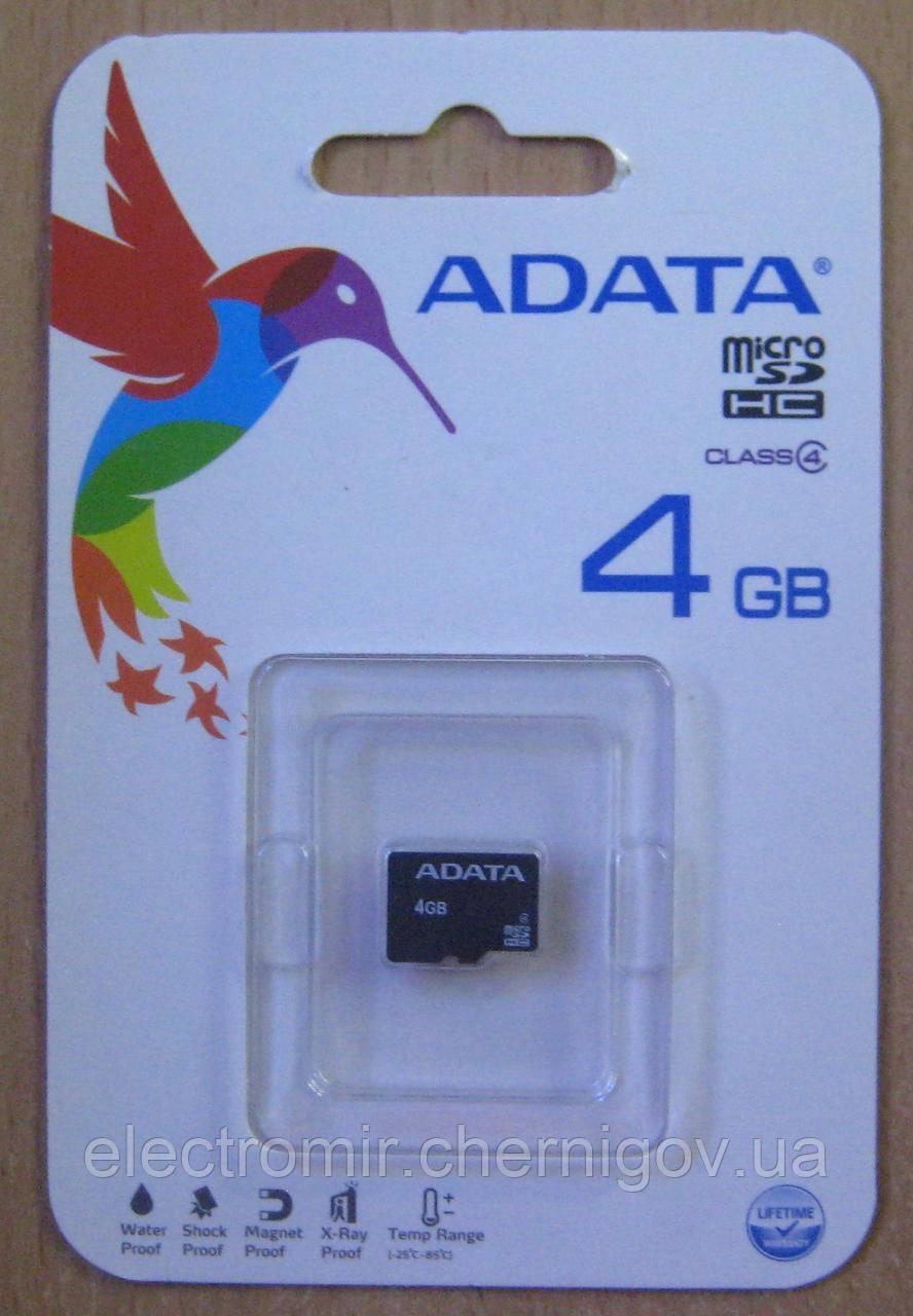 Карта пам'яті microSD AData 4GB class 4