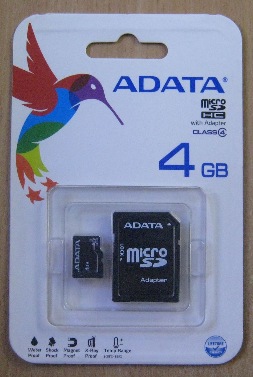Карта пам'яті microSD AData 4GB class 4 (з адаптером)