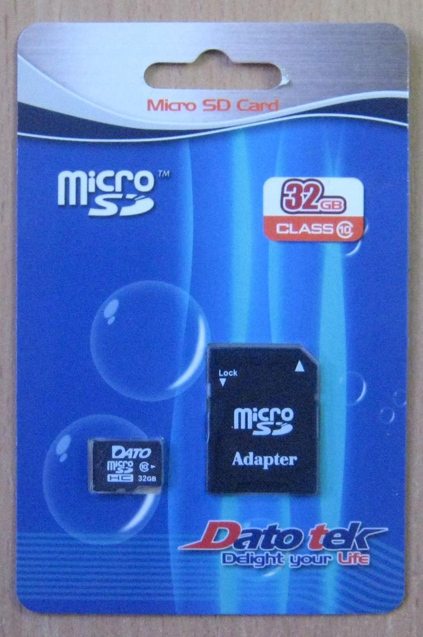 Карта памяти microSD Datotek 32GB 10 class (с адаптером)
