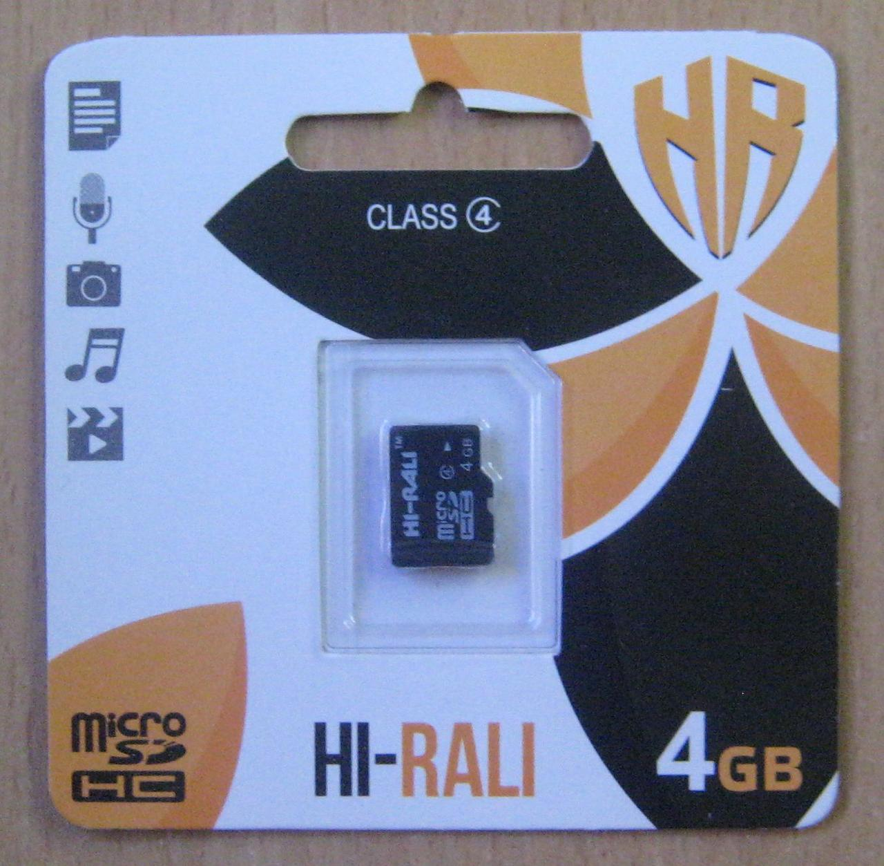 Карта памяти microSD Hi-Rali 4GB 4 class