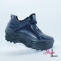 Жіночі черевики снікерси на хутрі, фото 1