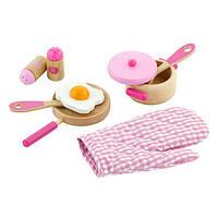 Детский кухонный набор Viga Toys Игрушечная посуда из дерева, розовый (50116)