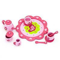 Игрушечная посуда Viga Toys Деревянный чайный набор, розовый (50343)