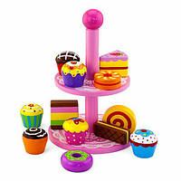 Игрушечные продукты Viga Toys Деревянные пирожные на подставке (59893VG)