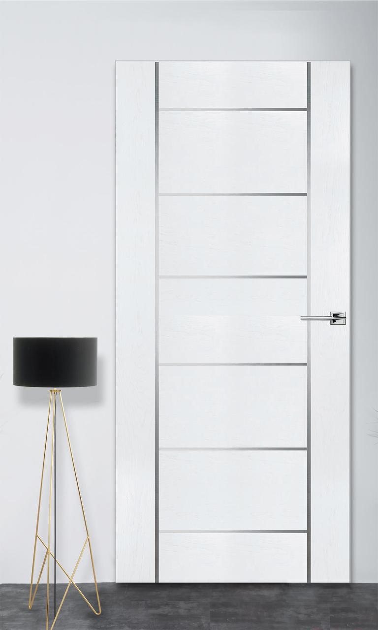 Межкомнатная дверь Флэш 8 белый ясень ПГ (скрытого монтажа)