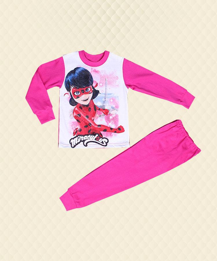 Пижама подростковая Леди Баг Париж розовая начёс