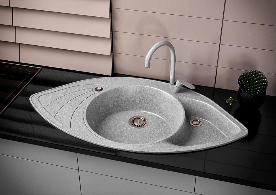 Кухонна мийка VALENTINA Gr Lira сірий