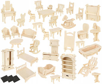 Набор самодельной мебели DIY для кукольного дома 34 шт
