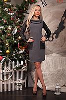 Теплое платье с шарфом и карманами из кожи, фото 2