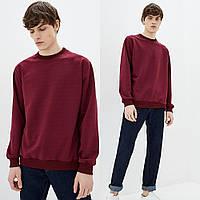Мужской бордовый однотонный Свитшот без начеса, легкий свитер, кофта весна-осень