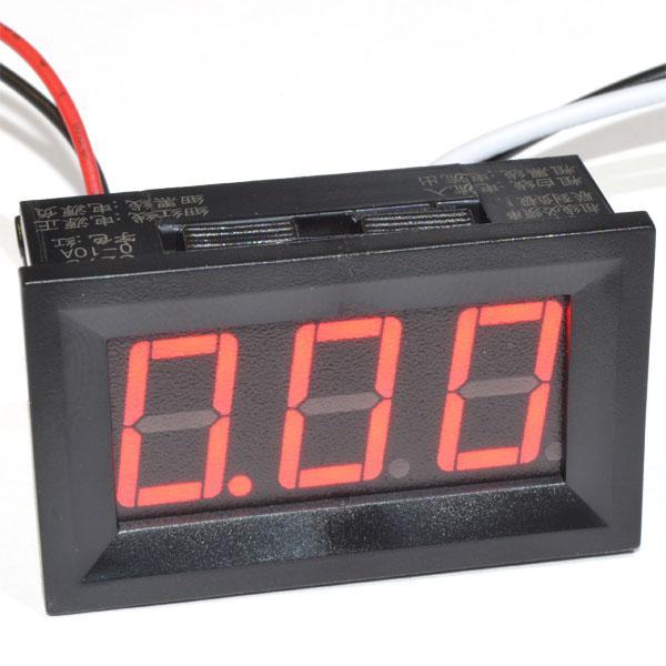 Цифровой амперметр DC постоянного тока 10А панельный красный