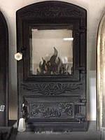 Дверцы печные со стеклом Цветок