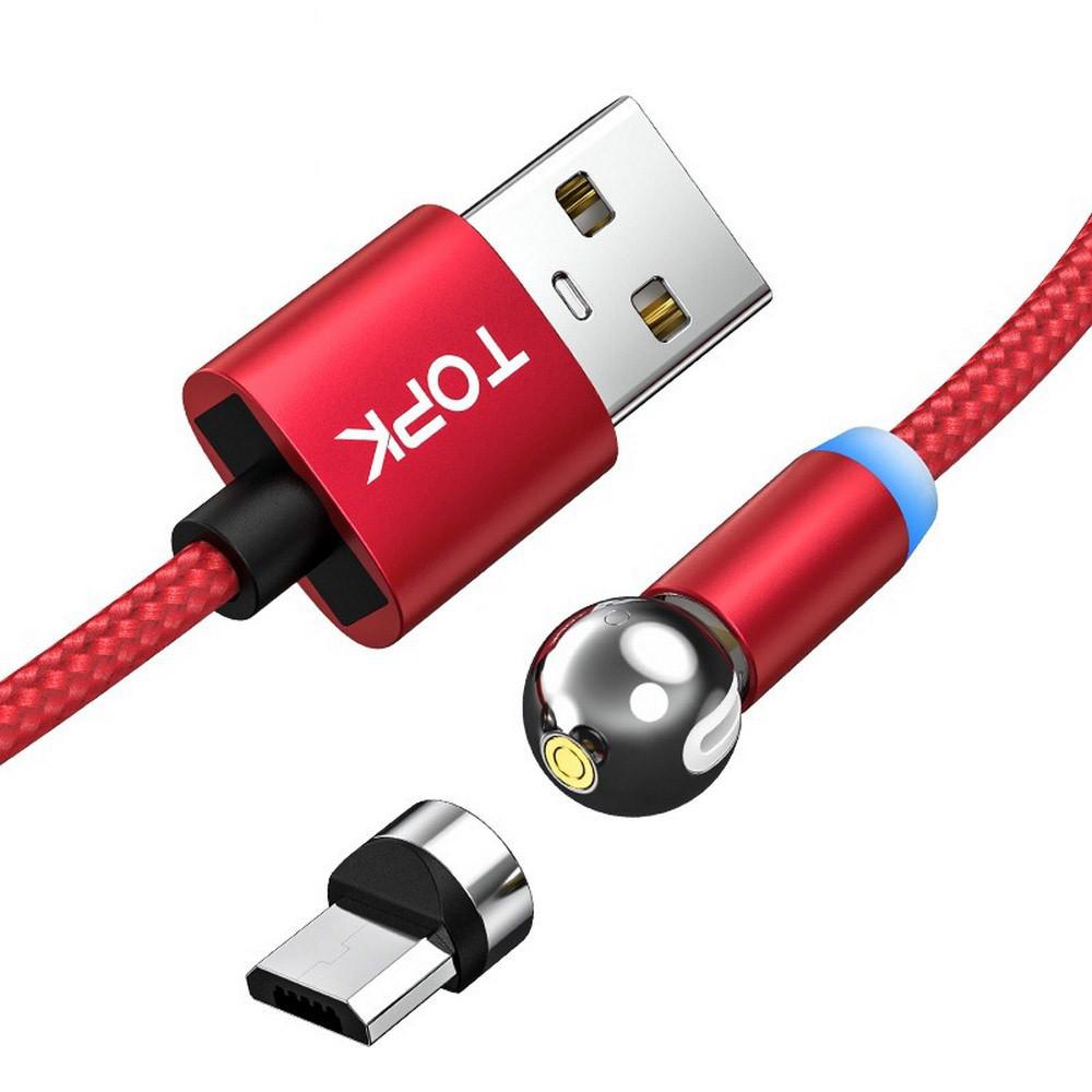 Магнитный кабель для зарядки Topk microUSB 1m 2.4A 360° Красный (TK28U-VER2-RD)