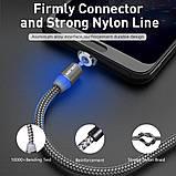 Магнитный кабель Uslion для microUSB  2.4A длиной 2 метра в нейлоновой оплётке Black (М24А05), фото 3