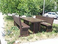 Деревянная мебель в классическом стиле 2200*950 для кафе, дачи от производителя Николаев