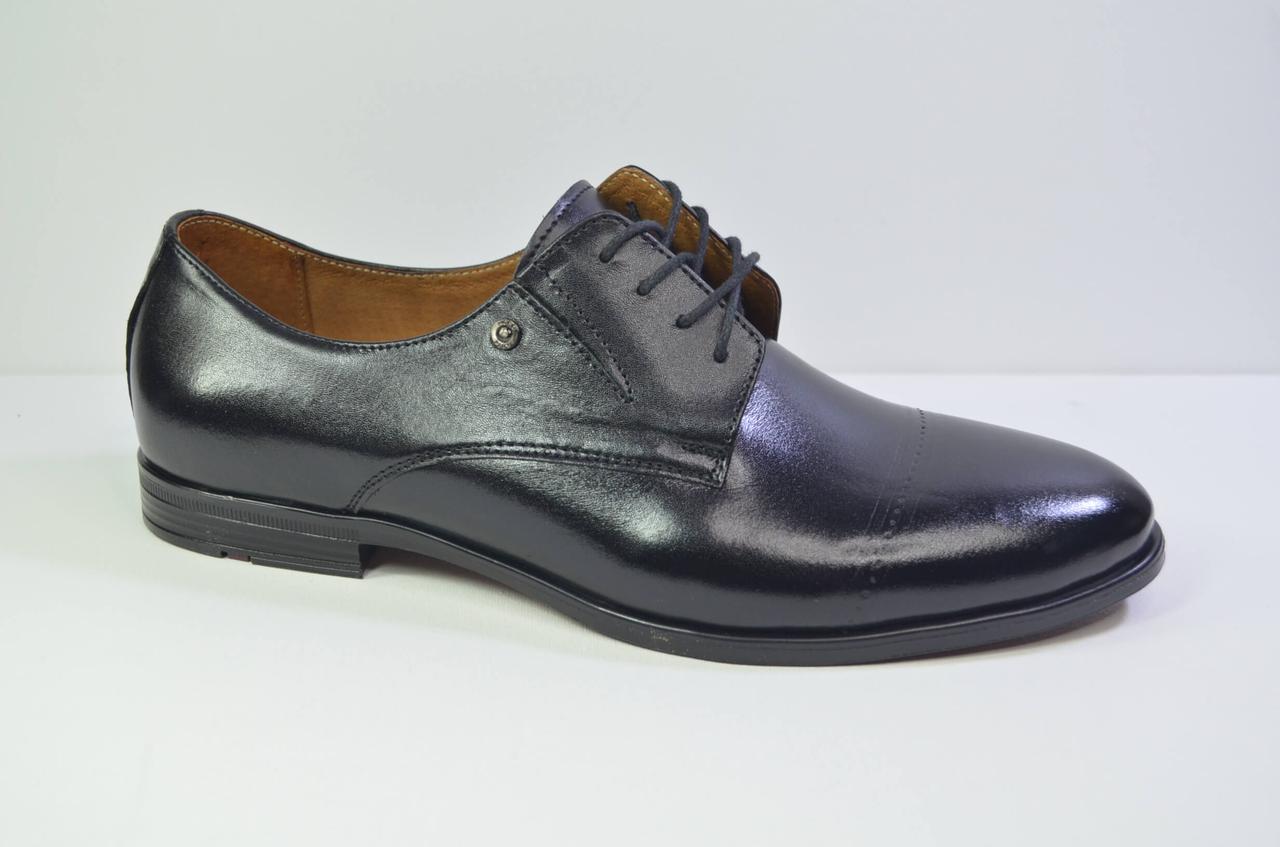 Чоловічі шкіряні туфлі чорні Nord 448