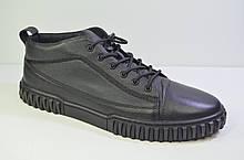 Мужские демисезонные кожаные туфли черные Rondo 124