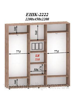 Шкаф-купе 2,2*0,45*2,2 ЭШК-2222