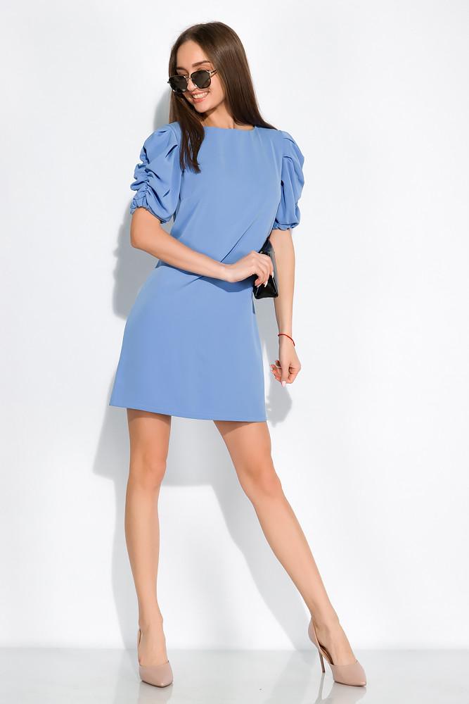 Платье с драпировкой на рукаве 120PDS8607 (Голубой)