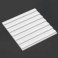 """Гипсовые 3D панели """"Прямолинейная"""" Белый 500*500*25 мм"""
