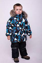Детский комплект зимний  Джони Бирюза на рост 110, натуральный мех енот