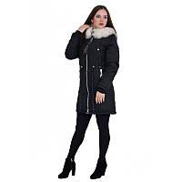 Куртка-парка зимова жіноча песець чорна і кольору хакі