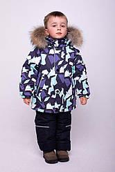 Детский комплект зимний  Джони Голубой, натуральный мех енот,  на рост от 110 по 122