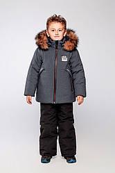 Детский комплект зимний натуральный мех песец, Марк Графит-черн на рост 80 по 122