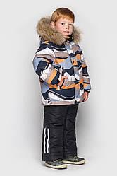 Детский комплект зимний, натуральный мех енот, Джони, цвет песок на рост 104 по 122