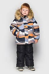 Детский комплект зимний, искусственный мех, Джони цвет песок, на рост 104 по 122
